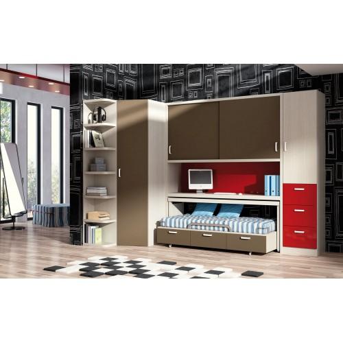 Dormitorio con cama nido Barcelona
